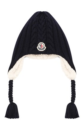 Детского шерстяная шапка MONCLER ENFANT темно-синего цвета, арт. E2-951-99242-05-A9270 | Фото 1