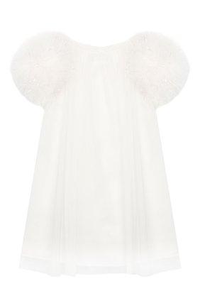 Детское хлопковое платье CHARABIA белого цвета, арт. S055H/5Y-8Y   Фото 1