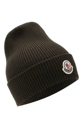 Мужская шерстяная шапка MONCLER хаки цвета, арт. E2-091-00217-00-04957 | Фото 1