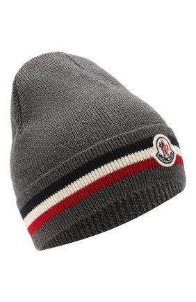 Мужская шерстяная шапка MONCLER темно-серого цвета, арт. E2-091-00328-00-02292 | Фото 1