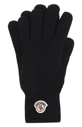 Мужские шерстяные перчатки MONCLER темно-синего цвета, арт. E2-091-00518-00-04957 | Фото 1
