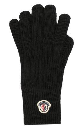 Мужские шерстяные перчатки MONCLER черного цвета, арт. E2-091-00518-00-04957 | Фото 1