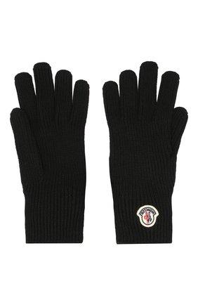 Мужские шерстяные перчатки MONCLER черного цвета, арт. E2-091-00518-00-04957 | Фото 2