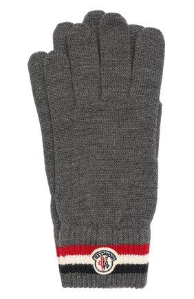 Мужские шерстяные перчатки MONCLER темно-серого цвета, арт. E2-091-00549-00-02292 | Фото 1