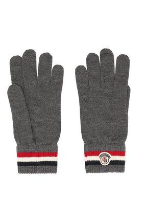 Мужские шерстяные перчатки MONCLER темно-серого цвета, арт. E2-091-00549-00-02292 | Фото 2