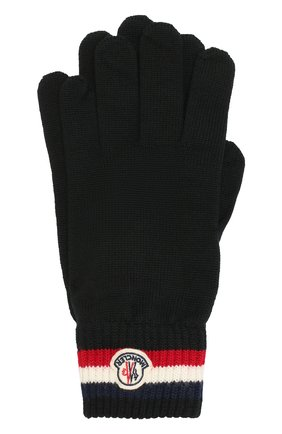 Мужские шерстяные перчатки MONCLER черного цвета, арт. E2-091-00549-00-02292 | Фото 1