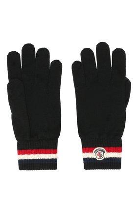 Мужские шерстяные перчатки MONCLER черного цвета, арт. E2-091-00549-00-02292 | Фото 2