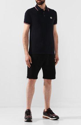 Мужское хлопковое поло MONCLER темно-синего цвета, арт. E2-091-83456-00-84556   Фото 2