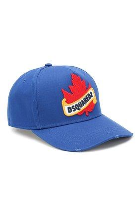Мужской хлопковая бейсболка DSQUARED2 синего цвета, арт. BCM0218 05C00001 | Фото 1