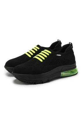 Мужские текстильные кроссовки FENDI черного цвета, арт. 7E1234 A7M4 | Фото 1