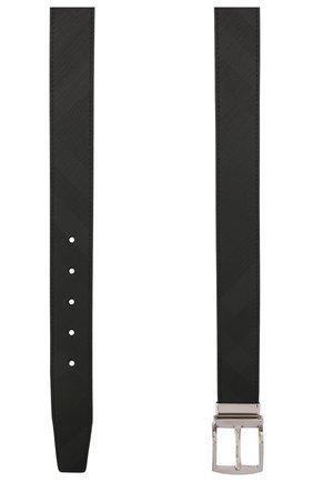 Мужской ремень BURBERRY темно-серого цвета, арт. 8015575 | Фото 2