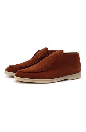 Мужские замшевые ботинки open walk LORO PIANA оранжевого цвета, арт. FAB4368 | Фото 1