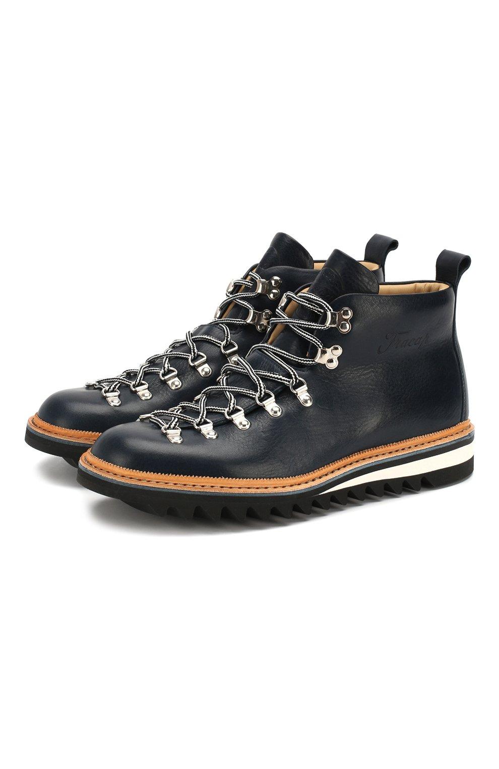 Мужские кожаные ботинки FRACAP синего цвета, арт. M120/RIPPLE/NEBRASKA/GUARD.ZIGZAG | Фото 1