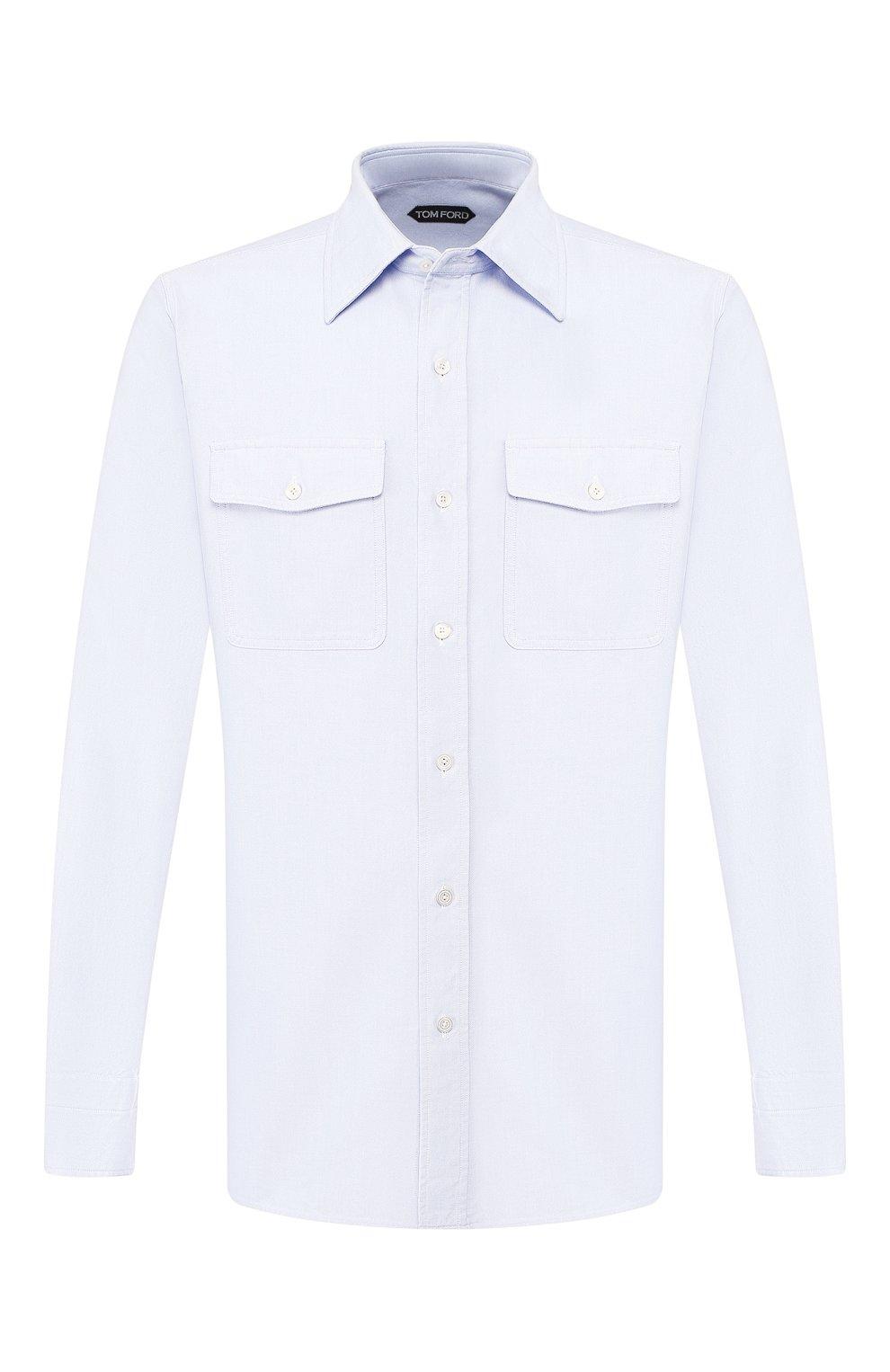 Мужская хлопковая рубашка TOM FORD голубого цвета, арт. 6FT092/94PHRK | Фото 1