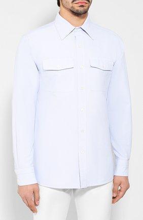 Мужская хлопковая рубашка TOM FORD голубого цвета, арт. 6FT092/94PHRK | Фото 3