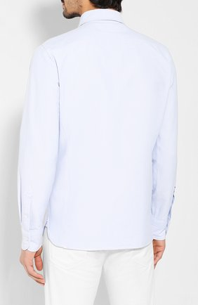 Мужская хлопковая рубашка TOM FORD голубого цвета, арт. 6FT092/94PHRK | Фото 4