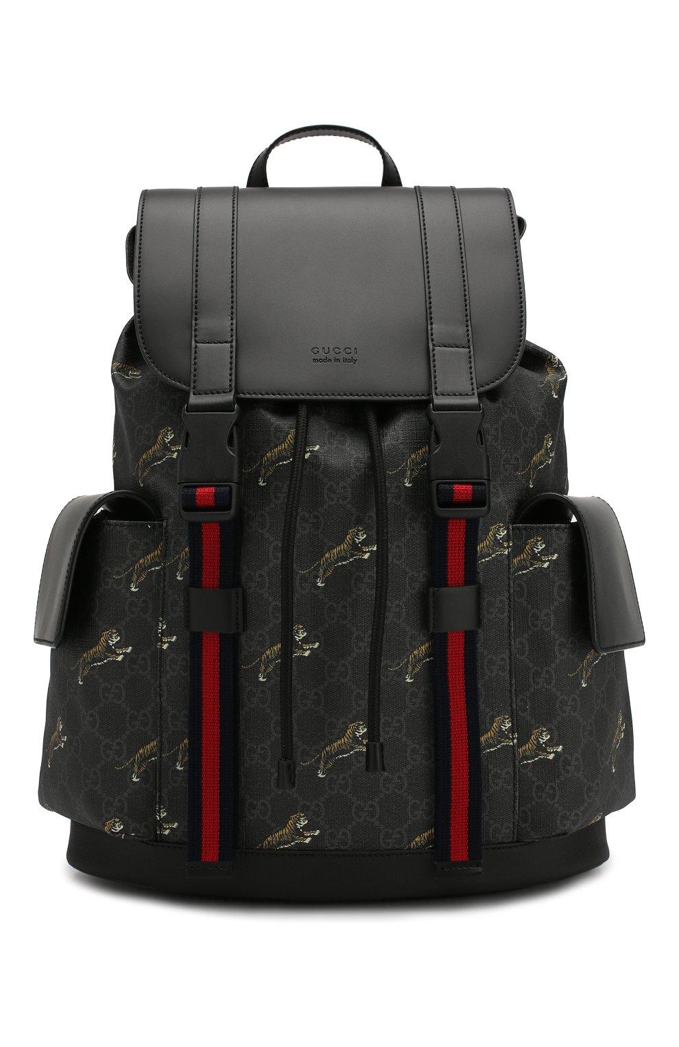 Мужской рюкзак gg supreme GUCCI черного цвета, арт. 495563/G02CX | Фото 1