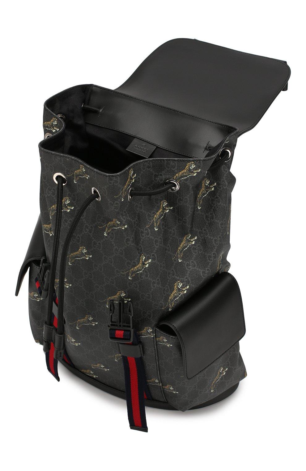 Мужской рюкзак gg supreme GUCCI черного цвета, арт. 495563/G02CX | Фото 4