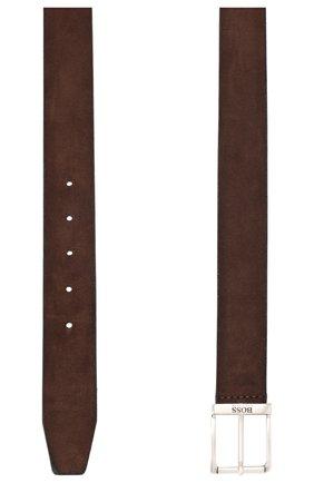 Мужской замшевый ремень BOSS темно-коричневого цвета, арт. 50419390 | Фото 2
