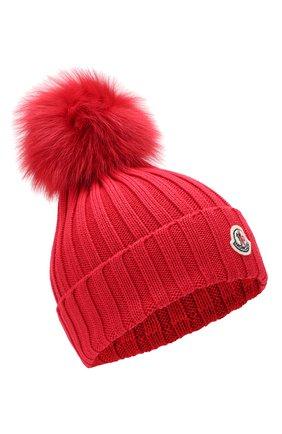 Женский шерстяная шапка MONCLER красного цвета, арт. E2-093-00219-00-03510 | Фото 1