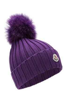 Женский шерстяная шапка MONCLER фиолетового цвета, арт. E2-093-00219-00-03510   Фото 1