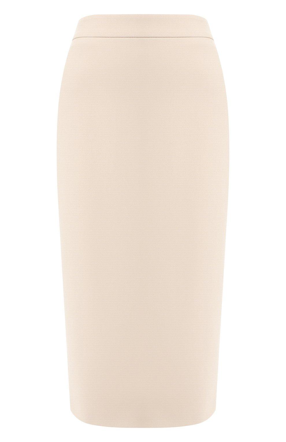Женская хлопковая юбка BOSS бежевого цвета, арт. 50414346 | Фото 1