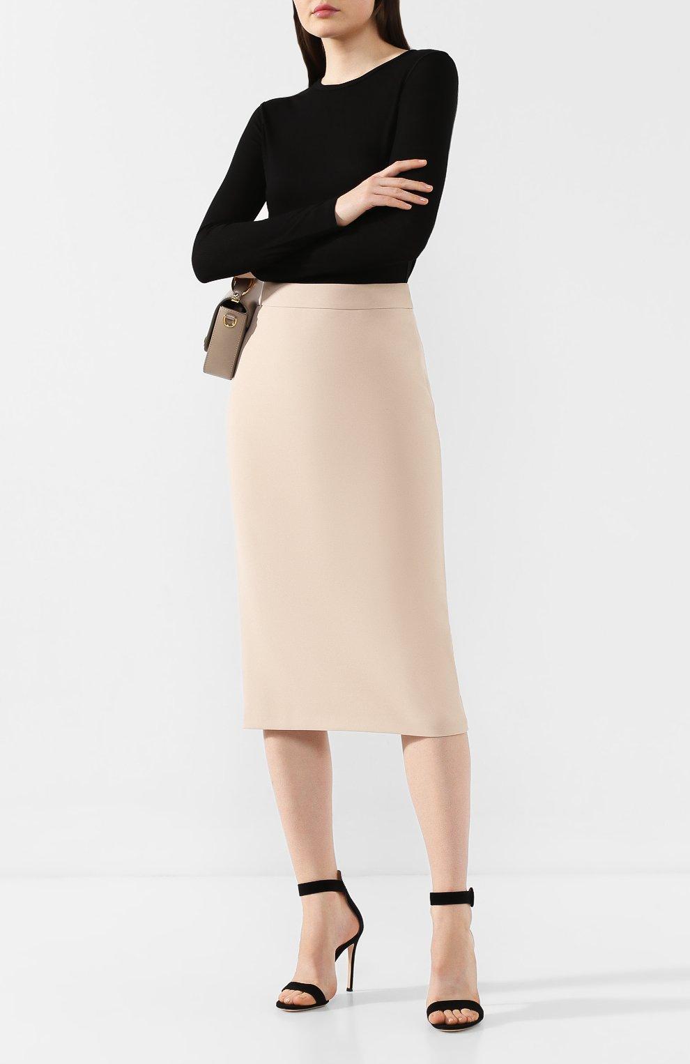 Женская хлопковая юбка BOSS бежевого цвета, арт. 50414346 | Фото 2