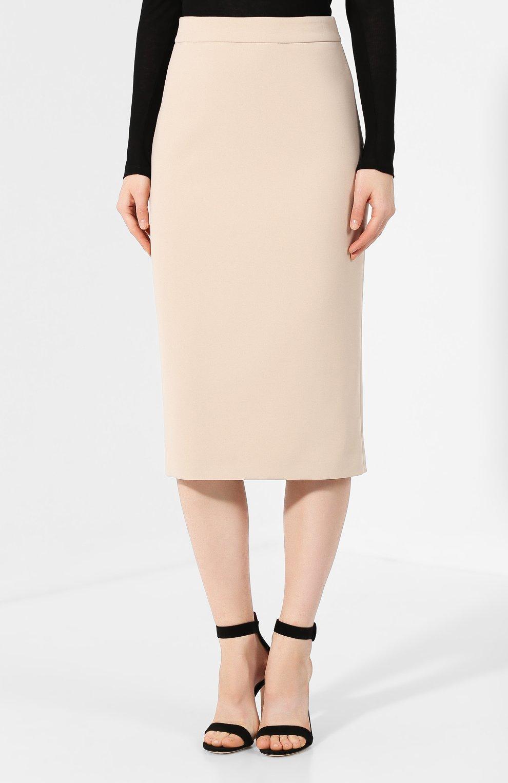 Женская хлопковая юбка BOSS бежевого цвета, арт. 50414346 | Фото 3