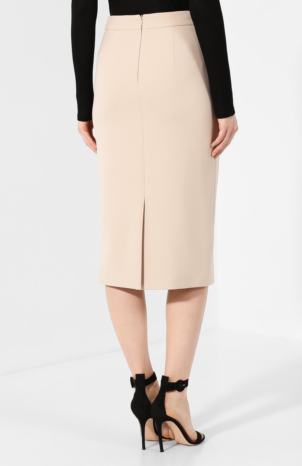Женская хлопковая юбка BOSS бежевого цвета, арт. 50414346 | Фото 4