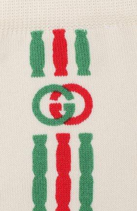 Женские хлопковые носки GUCCI бежевого цвета, арт. 595912/3GE43 | Фото 2