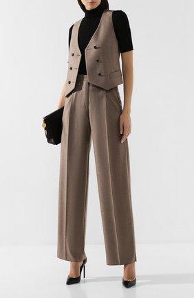 Женские кашемировые брюки GIORGIO ARMANI бежевого цвета, арт. 9WHPP08T/T01B6   Фото 2