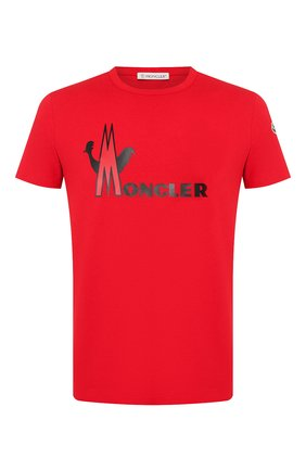 Мужская хлопковая футболка MONCLER красного цвета, арт. E2-091-80486-50-8390T | Фото 1