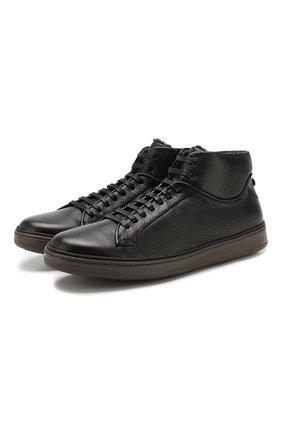 Мужские кожаные кеды BARRETT черного цвета, арт. NIGEL-9669.5/CERV0 ASP0RTABILE | Фото 1