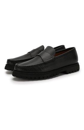 Мужские кожаные пенни-лоферы DOUCAL'S черного цвета, арт. DU2509M0RRUF019NN00 | Фото 1