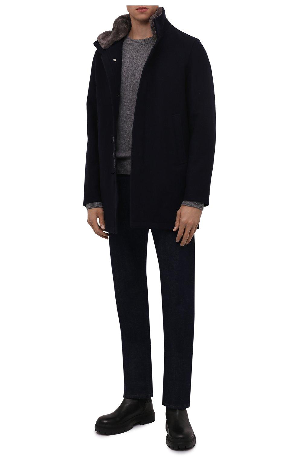 Мужской шерстяное пальто HERNO темно-синего цвета, арт. CA0071U/39601   Фото 2