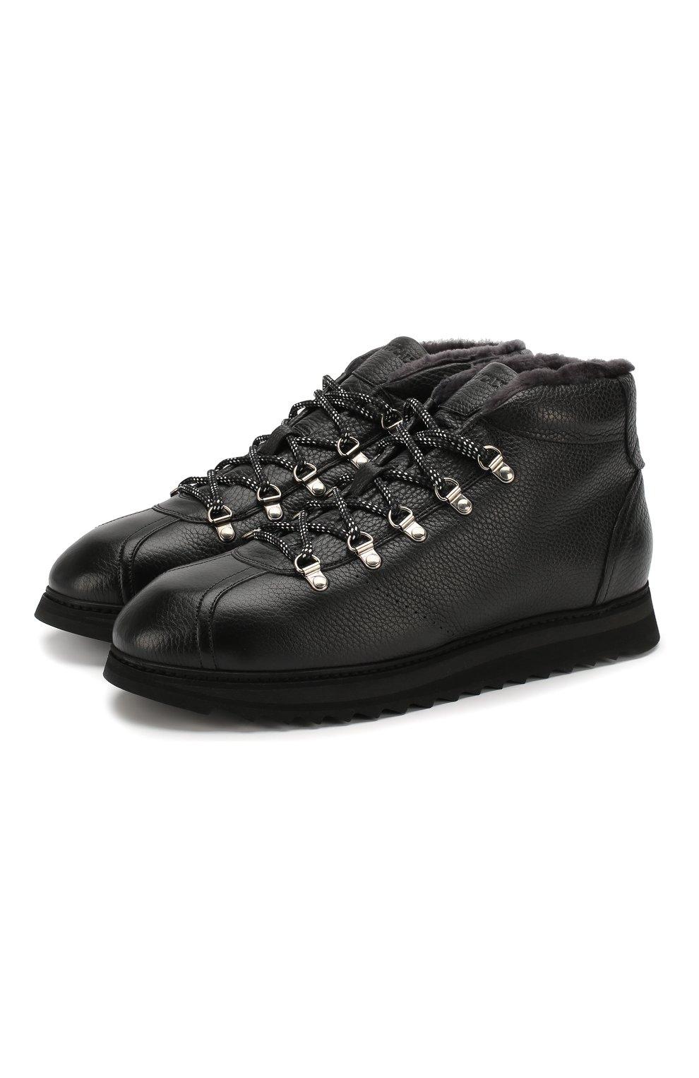 Мужские кожаные ботинки DOUCAL'S черного цвета, арт. DU1793WINNUM0192N00 | Фото 1