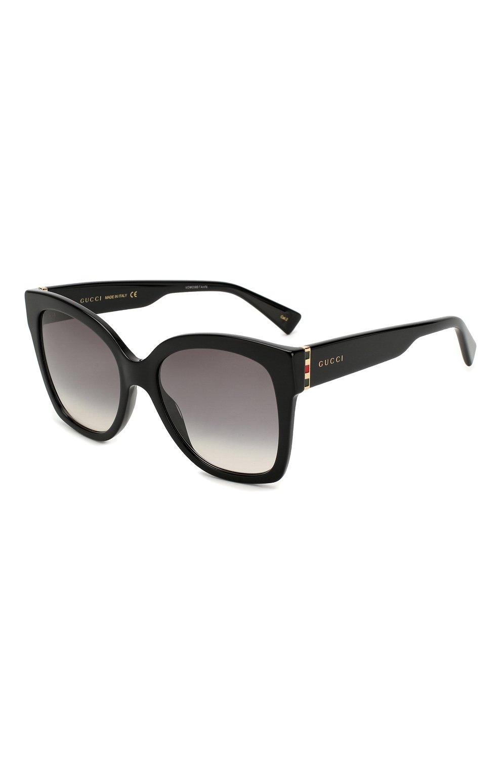 Женские солнцезащитные очки GUCCI черного цвета, арт. GG0459 001 | Фото 1