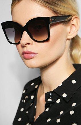 Женские солнцезащитные очки GUCCI черного цвета, арт. GG0459 001 | Фото 2