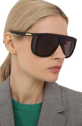 Женские солнцезащитные очки GUCCI коричневого цвета, арт. GG0467 003 | Фото 2