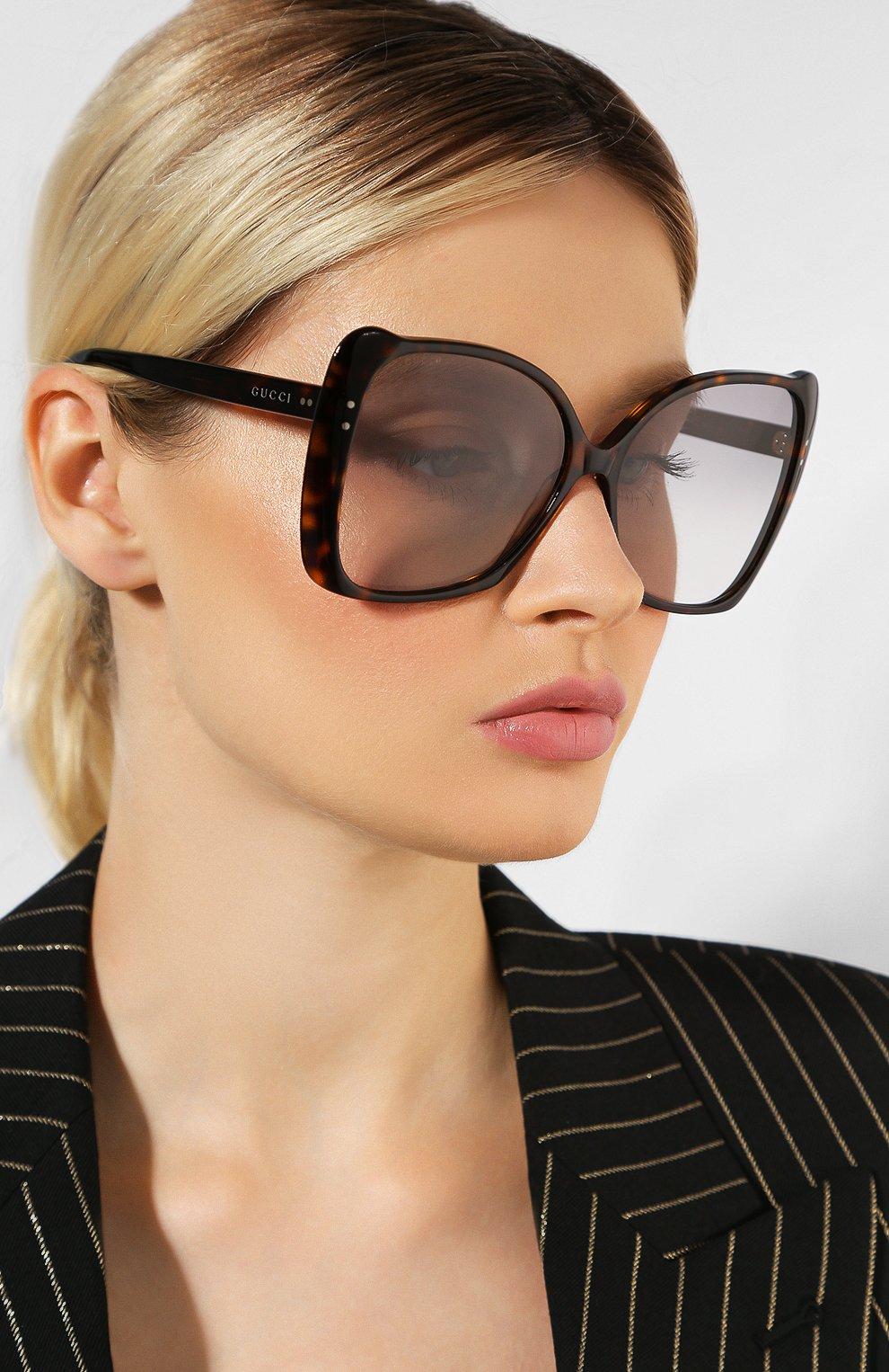 Женские солнцезащитные очки GUCCI коричневого цвета, арт. GG0471 002 | Фото 2