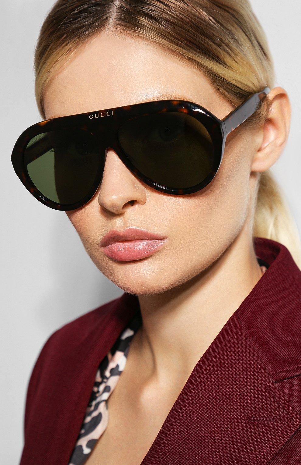 Женские солнцезащитные очки GUCCI коричневого цвета, арт. GG0479 003 | Фото 2