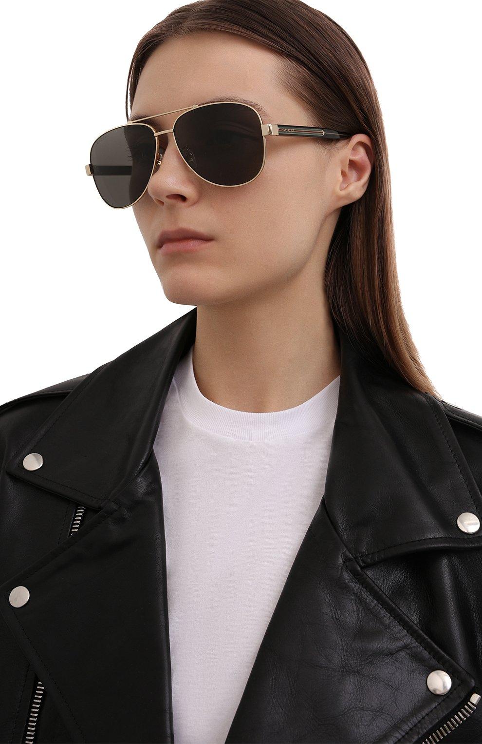 Мужские солнцезащитные очки GUCCI черного цвета, арт. GG0528 006   Фото 2