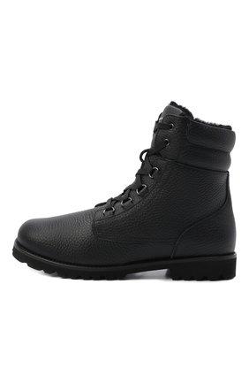 Детские кожаные ботинки с меховой отделкой DOLCE & GABBANA черного цвета, арт. DA0731/AA163/29-36 | Фото 2