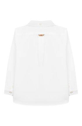 Детский хлопковая рубашка BURBERRY белого цвета, арт. 8011566 | Фото 2
