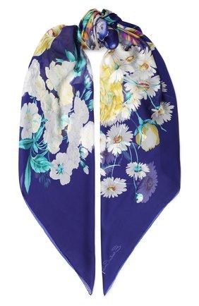 Женский шелковый платок с цветочным принтом EMILIO CONTE синего цвета, арт. K01414 SF081 | Фото 1