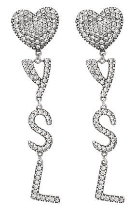 Женские серьги-клипсы heart SAINT LAURENT серебряного цвета, арт. 584228/Y1526 | Фото 1 (Материал: Металл; Женское Кросс-КТ: Клипсы-серьги; Статус проверки: Проверена категория)