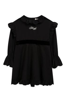 Детское хлопковое платье с поясом PHILOSOPHY DI LORENZO SERAFINI KIDS черного цвета, арт. PJAB43/CA241/UH015/XXS-XS   Фото 1