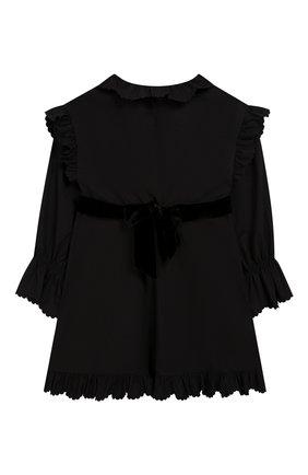 Детское хлопковое платье с поясом PHILOSOPHY DI LORENZO SERAFINI KIDS черного цвета, арт. PJAB43/CA241/UH015/XXS-XS   Фото 2