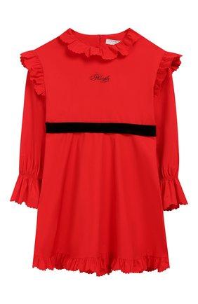 Детское хлопковое платье с поясом PHILOSOPHY DI LORENZO SERAFINI KIDS красного цвета, арт. PJAB43/CA241/UH015/L-XL   Фото 1