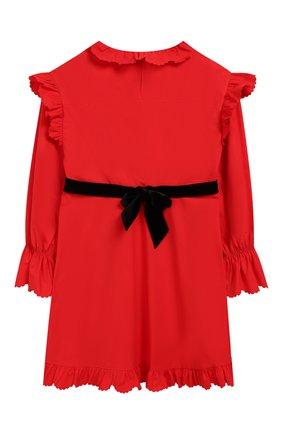 Детское хлопковое платье с поясом PHILOSOPHY DI LORENZO SERAFINI KIDS красного цвета, арт. PJAB43/CA241/UH015/L-XL   Фото 2